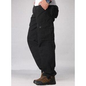 Image 5 - Männer Cargo Hosen Mens Casual Multi Taschen Military Tactical Pants Männer Outwear Gerade hose Lange Hosen Große größe 42 44