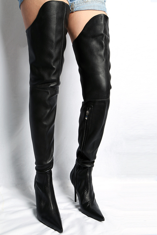 New Style Women Sexy Pointed Toe Black Leather Over The Knee Booties Winter Side Zipper High Thin Heel Long Boots High Quality winter long boots new trend knee high boots women botines mujer pointed toe black booties over the knee western gothic shoes