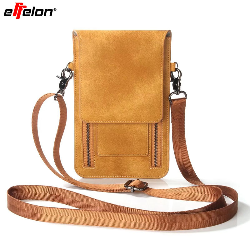 Effelon Universal PU Leather Cell Phone Bag Shoulder Pocket Wallet Pouch Case Neck Strap For Samsung/<font><b>iPhone</b></font>/Huawei/LG