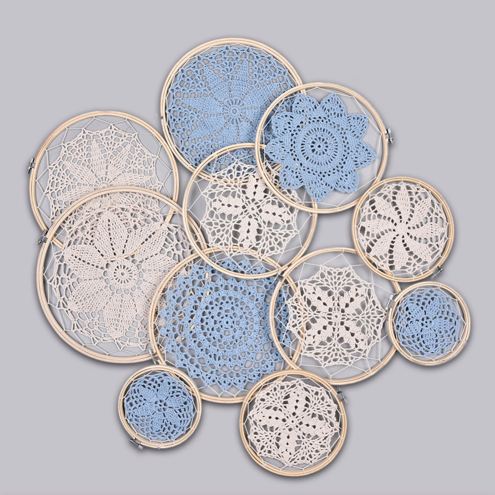 DIY Large Doily Lace Dream Catcher Set Wedding Home Background Decoration Bohemian Style Wall Hanging Dreamcatcher Ornamets