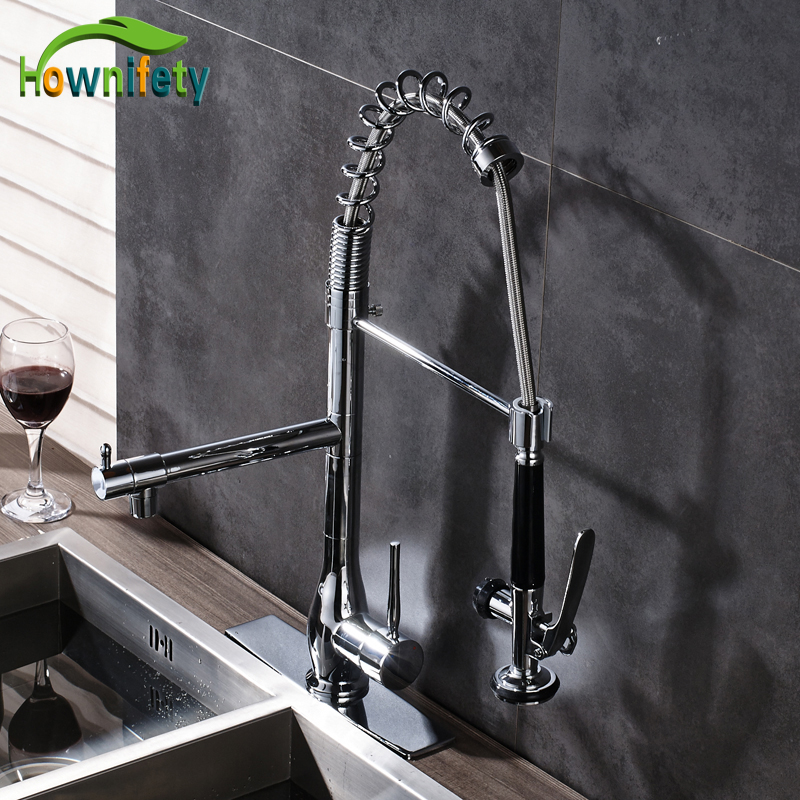 Chrome Solid Brass Kitchen Sink Faucet 360 Degree Rotate 2 Ways Water Outlet Mixer Tap with Cover Plate everso solid brass kitchen faucet double spouts 360 degree