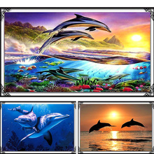 DIY 5D Diamond Mosaic Dolphins Diamond Painting Cross Stitch Kits Square Embroidery Home Decoration