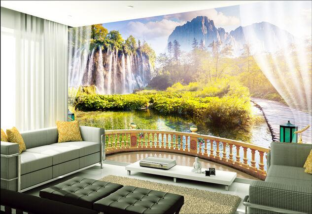 3d wallpaper custom mural non-woven Wall stickers 3 d waterfall wall outside the window  paintings photo 3d wall mural wallpaper world outside the window paper