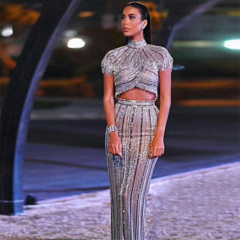 Fashion Silver Sequin Shining Celebrity Evening Party Dress Women Vestidos Good Quality Two 2 Pieces Set Bodycon Suit Wholesale