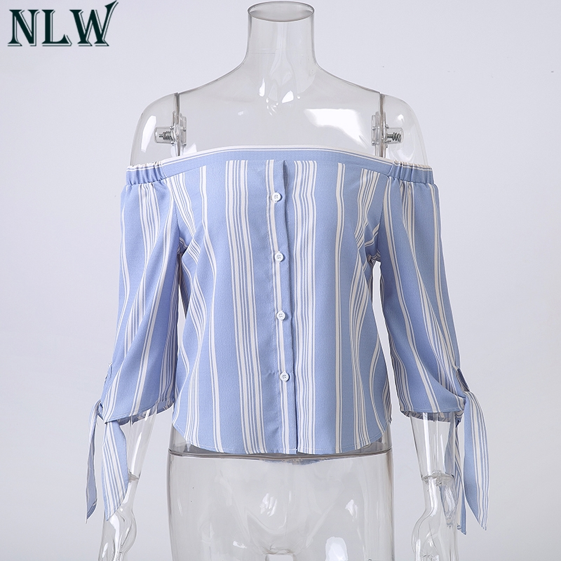 NLW Blue White Striped Blouse Shirt Off Shoulder Bow Knot Summer Blouse Top 2018 Women Backless Sexy Tops Casual Beach Clothing