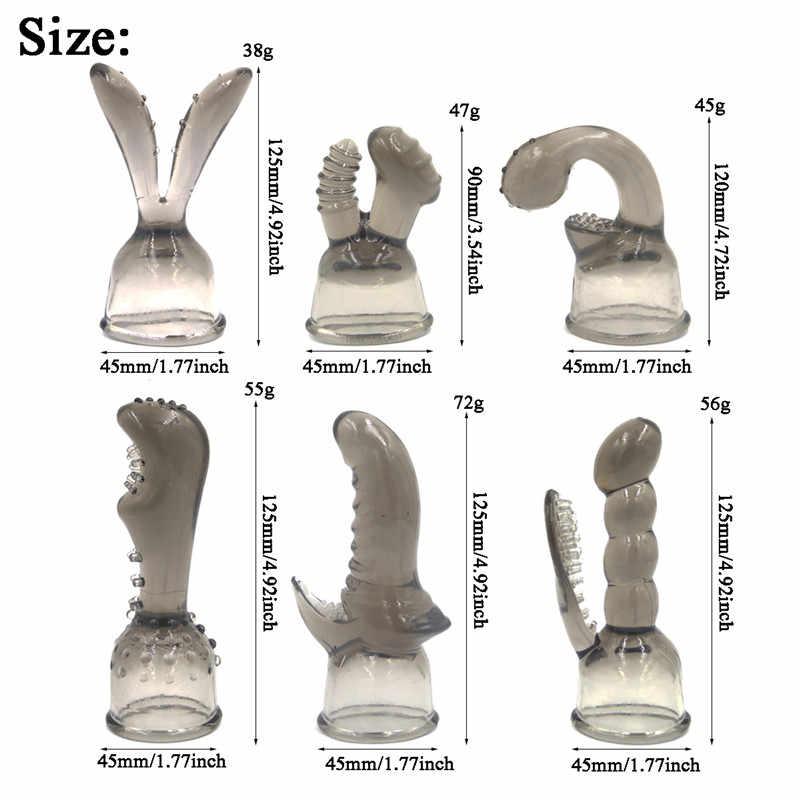 6 estilos de varita mágica accesorio G-Spot estimulación Clitorial AV varilla cabeza gorra mujer masturbador juguetes sexuales para mujeres