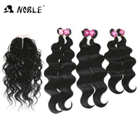 Noble Body Wave Synthetic Hair Weave With Closure 7 Pcs Pack 16 18 20 Middle Part
