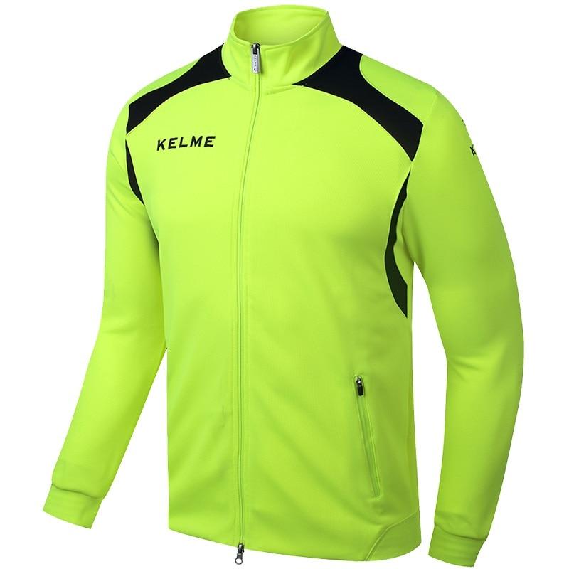 ФОТО Kelme KMC160001 Men Long Sleeve Stand Collar Leisure Running Sport Training Football Knit Jacket Fluorescent Green