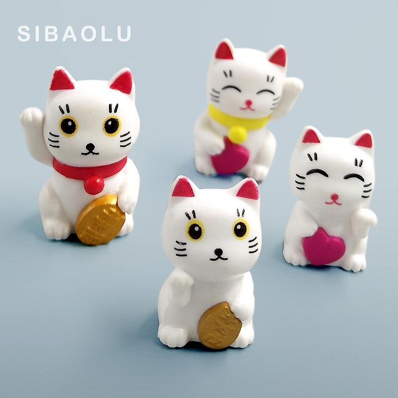 Lovely Cute Cartoon Lucky Cats Micro Landscape Kitten Microlandschaft Pot Culture Tools Decorative Garden Decorations Miniatures