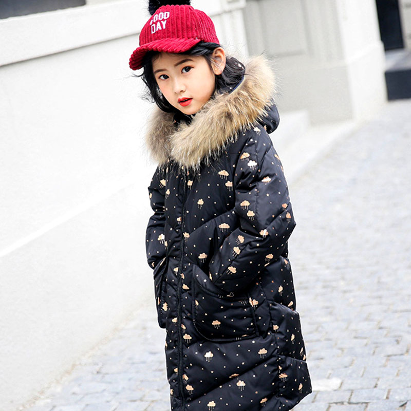 Зимние куртки для девочек, 2018 новые пуховики, длинные детские парки с меховым воротником, зимняя одежда для девочек-подростков 6, 8, 10, 12, 14 лет