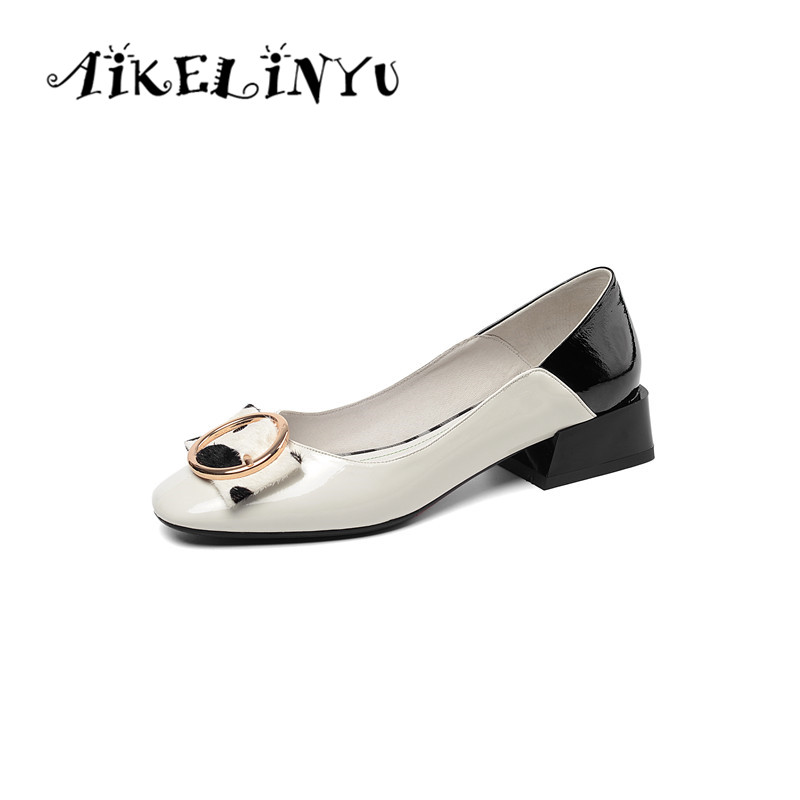 AIKELINYU 2019 Women Pump Genuine Leather Shoes Top Quality Handmade Woman Bow Casual Round Toe Low Heel Lady black