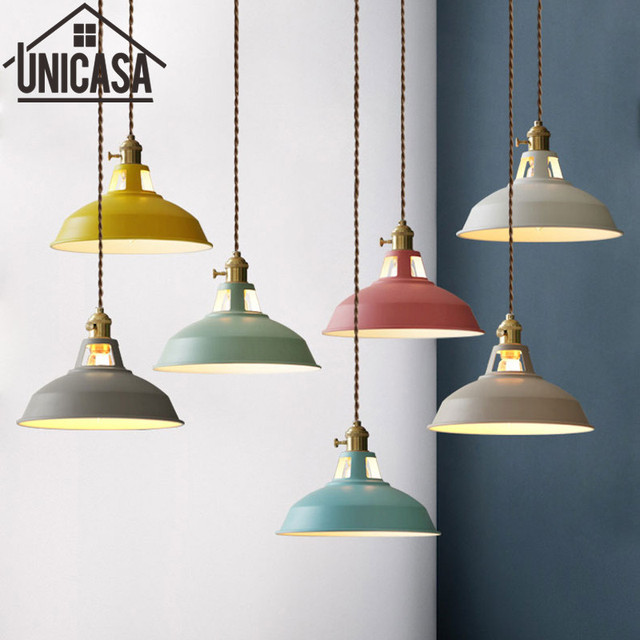 a0214713fe9 Colors Pendant Lights Modern home Lighting Fixtures Vintage Kitchen Island  Bedroom Ceiling Lamp Antique LED Shop Light Switch