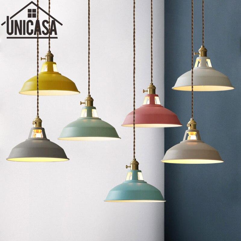 Couleurs Pendentif Lumières Éclairage à la maison Moderne Appareils Vintage Îlot De Cuisine Chambre Antique Lampe De Plafond LED Light Shop Commutateur