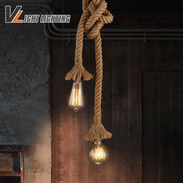 vintage rope pendant lights loft creative industrial lamp e27 edison bulb american style for restaurant