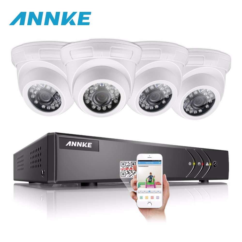 ANNKE HD 16CH CCTV System 5IN1 1080N DVR 4pcs 720P 1500TVL IR Outdoor Waterproof Security Cameras 16 Channels Surveillance kit