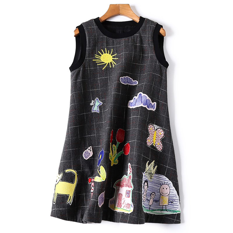 Autumn Winter MINI Dress Sweet Sleeveless Dresses Woolen Women Plaid Embroidery Cartoon Dress Vestidos Robe Femme Jurken NS412
