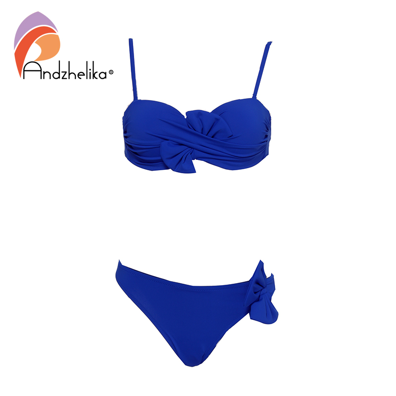 Andzhelika 2019 New Bikinis Women Sexy Brazilian Swimsuit Solid Bow Push Up Bikini Set Fold Beach Bathing Suit Swimwear Monokini