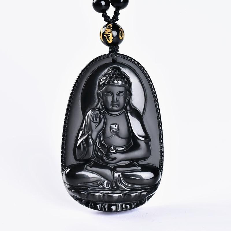 obsidian buddha pendant Jade Pendant male Women necklace Bead curtain transhipped scrub head black