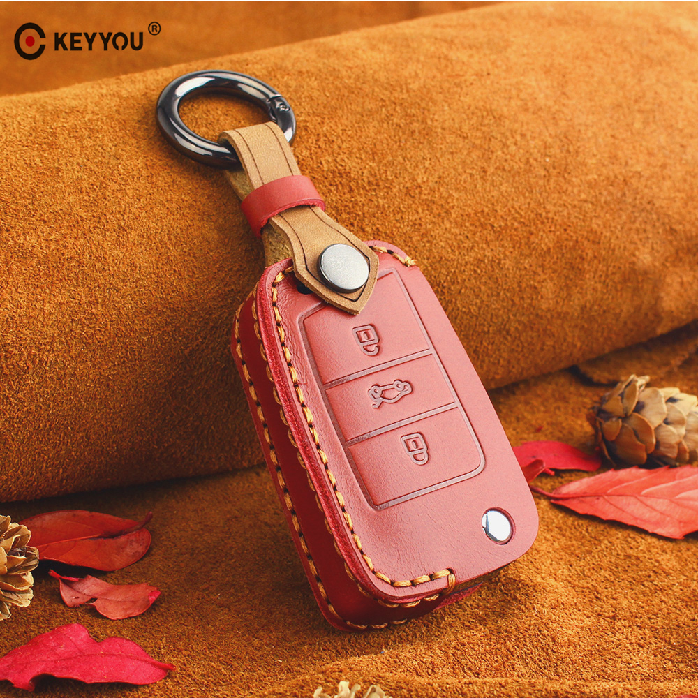 KEYYOU Leather Key Case Cover Portect For Volkswagen <font><b>VW</b></font> <font><b>Golf</b></font> <font><b>7</b></font> <font><b>GTI</b></font> R MK7 Tiguan For Skoda Octavia A7 Karoq For Seat Leon Ibiza image