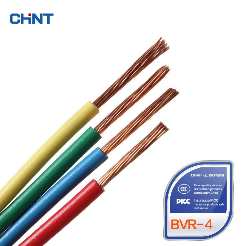 CHNT Wire And Cable National Standard Multi-strand Soft Wire GB Copper Wire BVR 4 Square 100 Meters panda electrical wire cable bvr flexiblecords 0 75 100 meters
