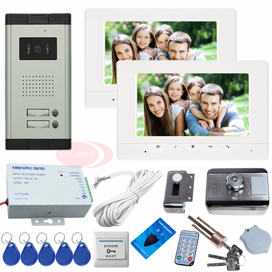 New Video Intercom 2 Apartments Color 7 LCD Video Door Phones HD 700lines CCD Camera Night Vision 2 Keys+RFID Electronic lock! 12 keys infared ccd cameras 7 hd 700lines color indoor monitors video door phone intercom system for 2 doors 12 apartments