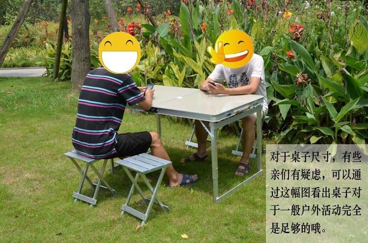 CAMPING Portable en plein air chaises pliantes en aluminium pique-nique tables et chaises ensemble - 2