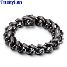 Мужской винтажный браслет цепочка TrustyLan, толстый черный браслет из нержавеющей стали, подарочное ювелирное изделие для него, 2018