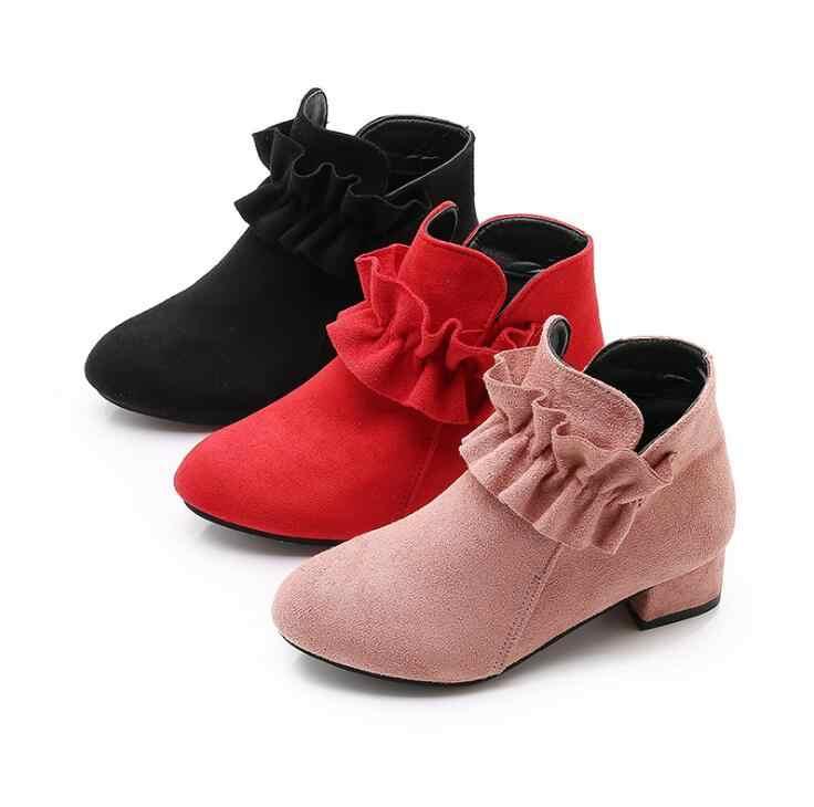 Kinderen schoenen 2019 Herfst Nieuwe Meisjes Enkel Laarzen Mode Prinses Laarzen Suede Hoge Hakken Studenten Korte laars ouder- kind boot