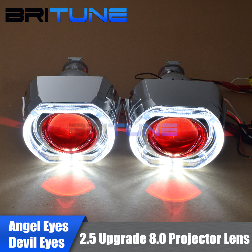 Bi-xenon Projector Headlight Lenses LED DRL Angel Halo Devil Eyes Mini 2.5'' HID Upgrade 8.0 H7 H4 H1 9006 Car Accessories Style