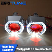 Bi-xenon Projector Headlight Lenses LED DRL Angel Halo Devil Eyes Mini 2.5'' HID Upgrade 8.0 H7 H4 H1 9006 Car Accessories Style(China)