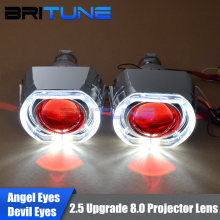 "LED DRL Angel Halo Devil Eyes Mini 2.5"" HID Bixenon Projector Lens Upgrade 8.0 Lenses In Headlight H1 H4 H7 9006 Headlamp DIY"