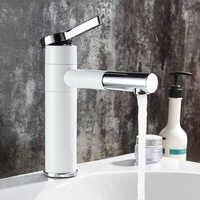Basin Faucets Brass Bathroom Faucet Vessel Sinks Mixer Vanity Tap Swivel Spout Deck Mounted White Color Washbasin Faucet LT-701L