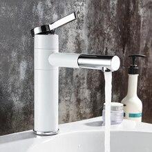 Basin Faucets Brass Bathroom Faucet Vessel Sinks Mixer Vanity Tap Swivel Spout Deck Mounted White Color Washbasin Faucet LT 701L