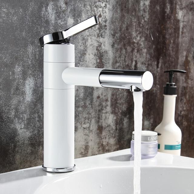 Grifos de lavabo de latón para baño, mezclador de lavabo, caño giratorio, Color blanco, LT 701L