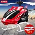 Syma Mini Helicóptero RC com Luz De Alumínio Interior Construído em Controle de Rádio Giroscópio Zangão Brinquedos Vermelho Amarelo Cor Frete Grátis
