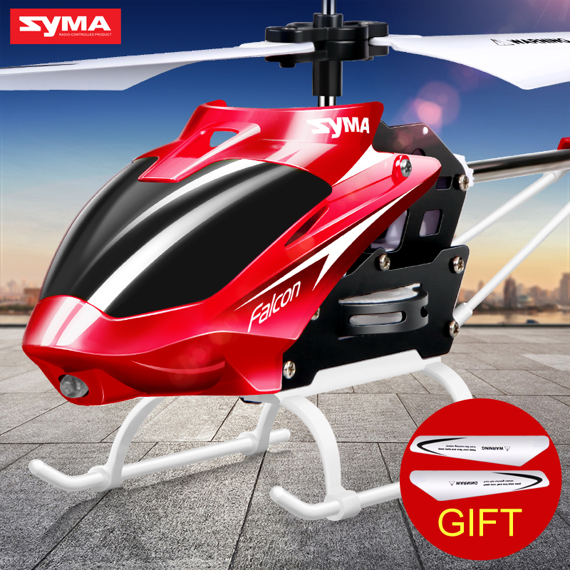 Syma Mini Indoor Aluminum RC Helicopter with Light Built in Gyroscope Remote Control Drone Toys Red