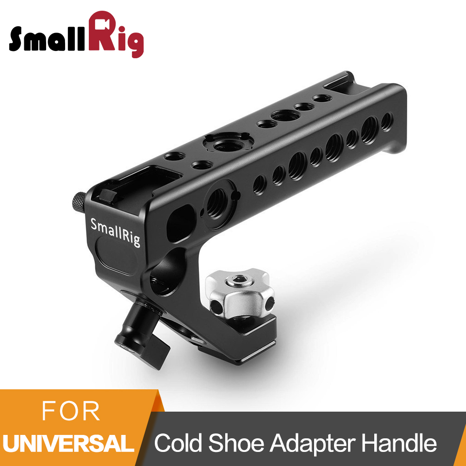 SmallRig Cold Shoe Adapter Handle To Mount DSLR Cameras And Cages With Thumb Screws +15 Mm Rod Clamp Universal Handgrip- 2094