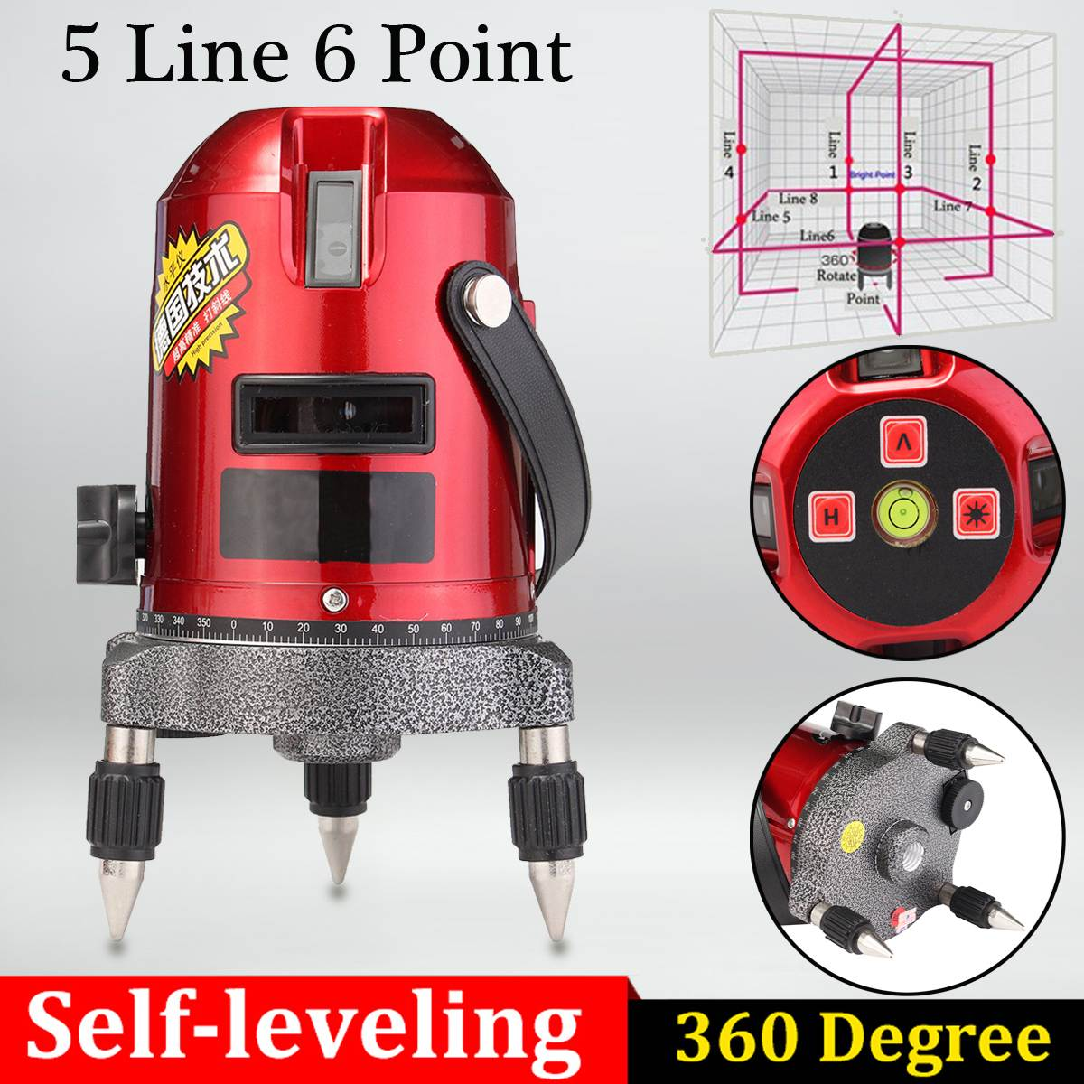 5 Line 6 Point 4V1H Cross Line Red Shockproof Automatic Self Leveling Laser Level Measure Meter Kit покрывало на кресло les gobelins mexique 50 х 120 см