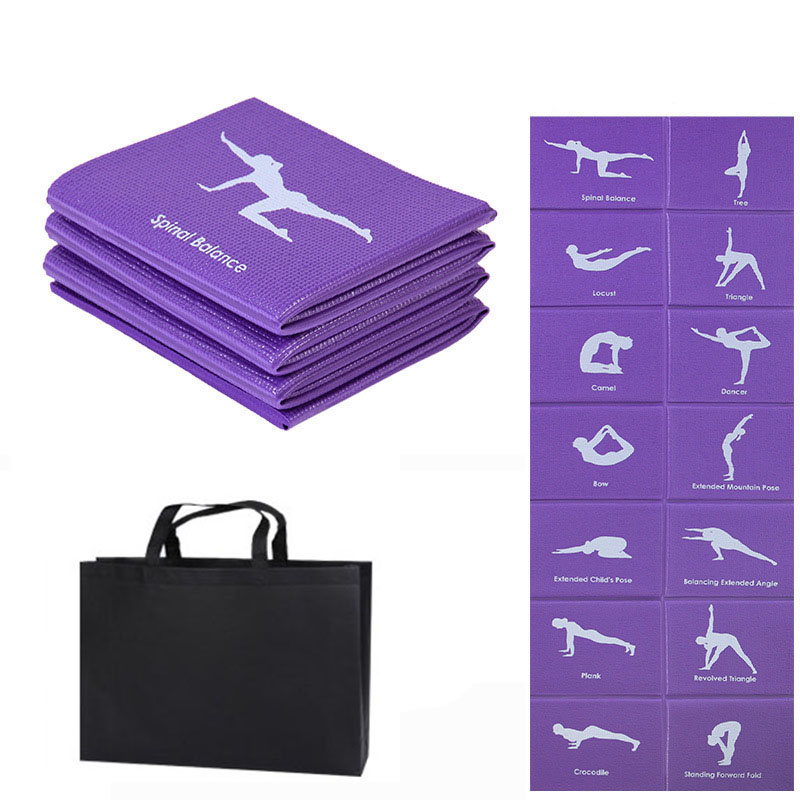 PVC Foldable Yoga Mat Exercise Pad Thick Non-slip Folding Gym Fitness Mat Pilates Supplies Floor Play Mat