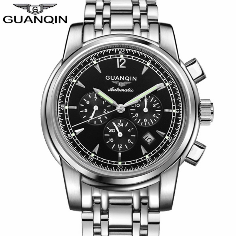 GUANQIN GJ16003 Automatic Mechanical Watch Men Luxury Brand Stainless Steel Strap Luminous Wrist Watch Relogio Masculino luxury gold automatic self wind men business casual watches stainless steel strap mechanical wrist luminous relogio masculino