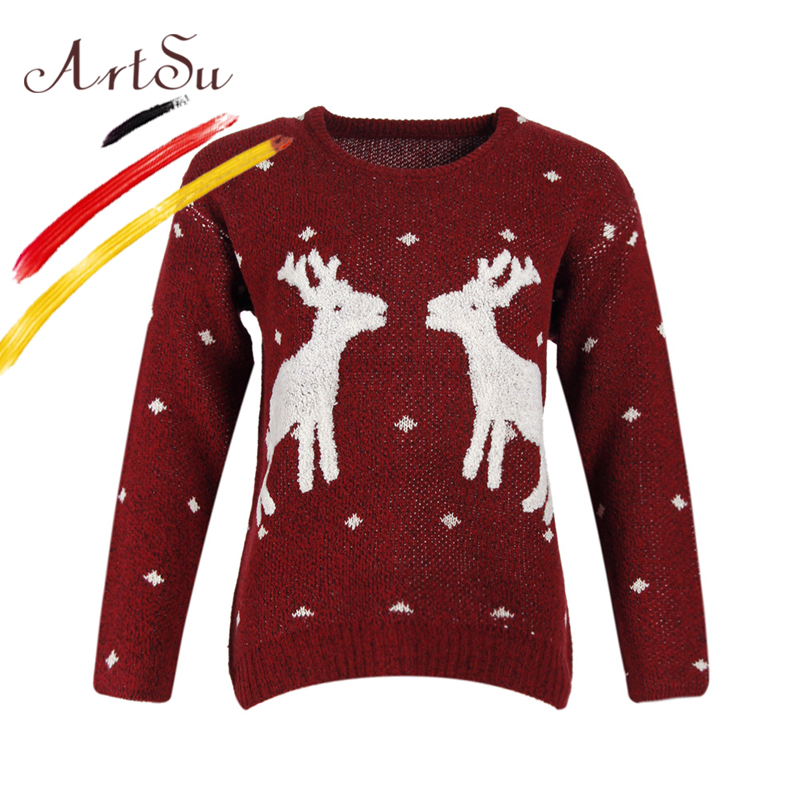 ArtSu Christmas Deer Print Sweater Pullover For Women Casual Knitted Jumper Sueter Mujer 2017 Long Sleeve Sweaters ASSW20133