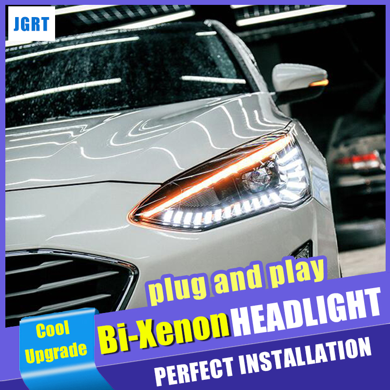 New design For ford Focus head lamps 2019 bi xenon lens HID KIT headlights led drl