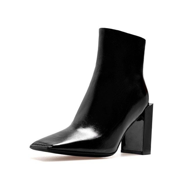 Krazing Pot 2018 new arrival genuine leather square toe high heels fashion winter shoes handmade zipper women Mid-Calf boots L30