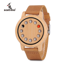BOBO BIRD L D06 Bamboo Wooden Mens Fashion Watches Quartz Relogio Male Saati Leather Belt Horloges Mannen