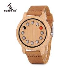 ボボ鳥L D06竹木製メンズファッション腕時計クォーツレロジオ男性saati革ベルトhorloges万年