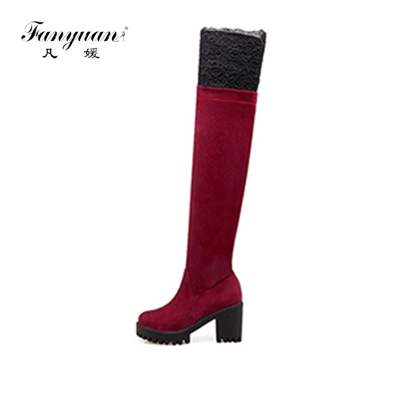 Fanyuan 2017 Autumn Woman Boots Fashion Thigh High Heel Boots Sexy Over the Knee Stretch Lace Boot for Women Over knee Shoes cicime summer fashion solid rivets lace up knee high boot high heel women boots black casual woman boot high heel women boots