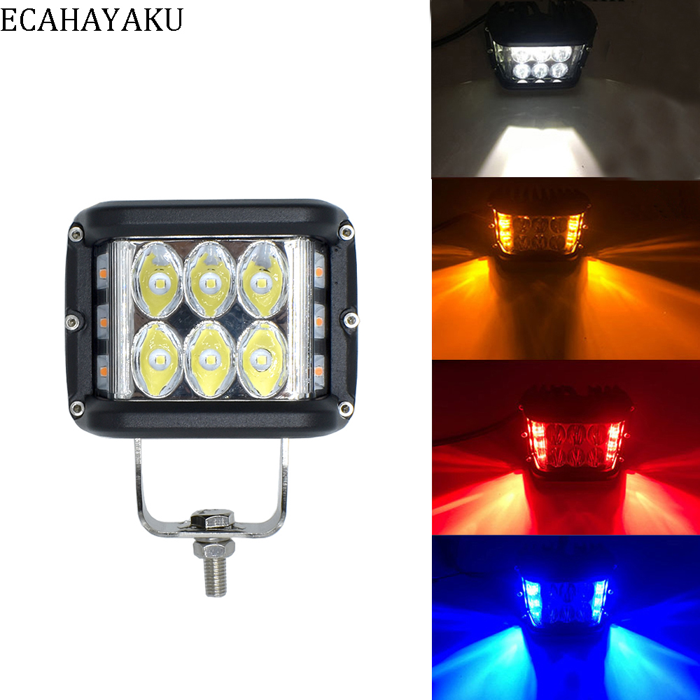 ECAHAYAU 4 Inch 60W blue red yellow Work Light Bar Offroad Motorcycle Foglights LED For 4WD 4x4 ATV UTV SUV Jeep Truck