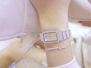 Image 3 - 2019 neue Heiße Frauen Uhr Strass Uhr Dame Diamant Stein Kleid Uhren Edelstahl Armband Armbanduhr dame Platz Uhr