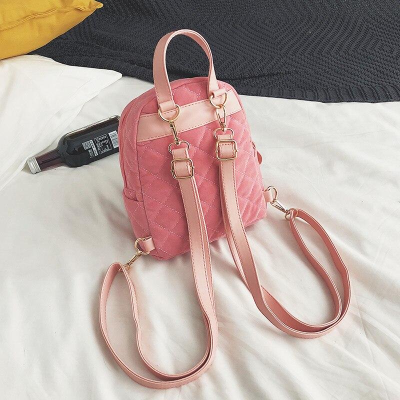 d77727826aa0 Women Velvet Backpack Mini Velour Shoulder Bag For Teenage Girls Female  Backpacks Fashion Small Daypack Rucksack Black XA51B -in Backpacks from  Luggage ...