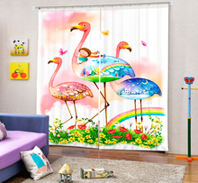 Colorful flamingos Animal Curtains 3D Photo Printing Blackout For Window Living Room Bedding Room Hote Office Sofa Decoration